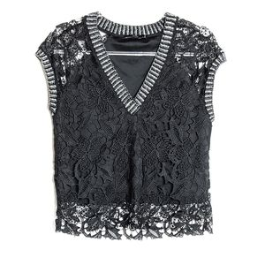 Zara • Trim Black Lace Top